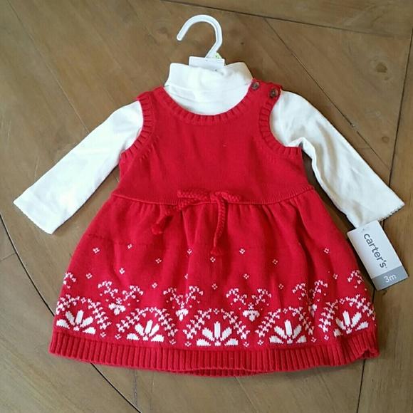 94a2fc9d7 Carter's Dresses | Nwt Carters 3m Knit Holiday Season Dress | Poshmark